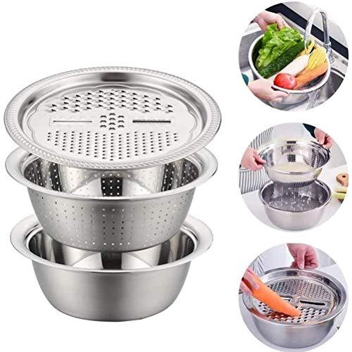 Koowaa 3 Stück Küchenhobel Edelstahl Abfluss Waschbecken für Gemüse Obst Salat Gemüse Zerkleinerer Abfluss Korb Behälter