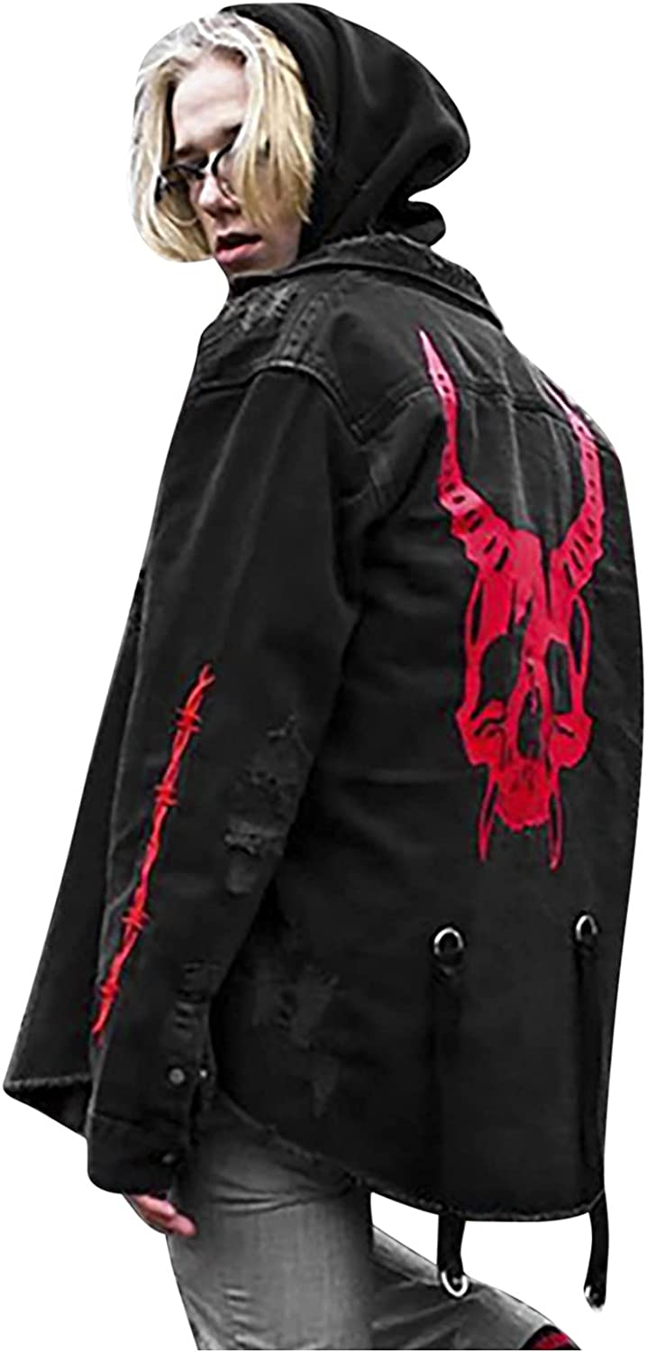 2021 Newly Denim Jacket for Men's Halloween Printed Loose Plus Size Street Trend Stand-up Collar Windbreaker Coats