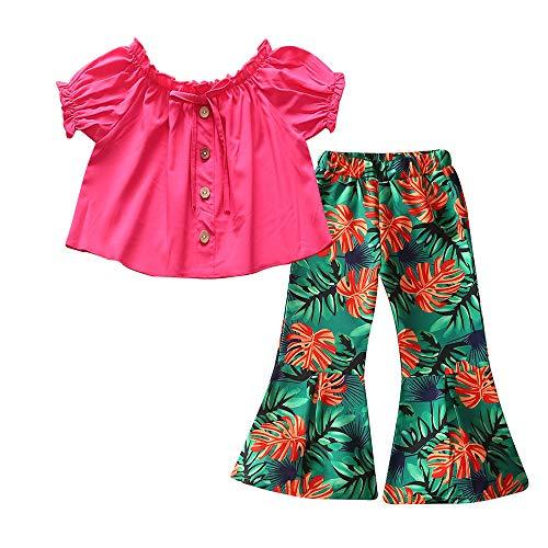 2 Unids Niños Pequeños Ropa De Bebé Niña Traje Casual Flor Retro T-Shirt Tops Pantalones Acampanados
