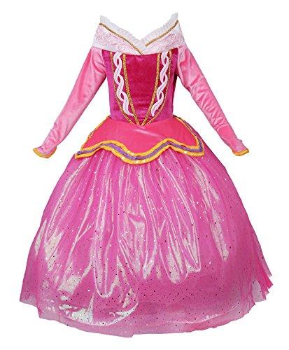 JerrisApparel Rosa Vestido de Princesa Disfraz Niña Vestido de Fiesta Vestido de Ceremonia (120cm, Rosa)