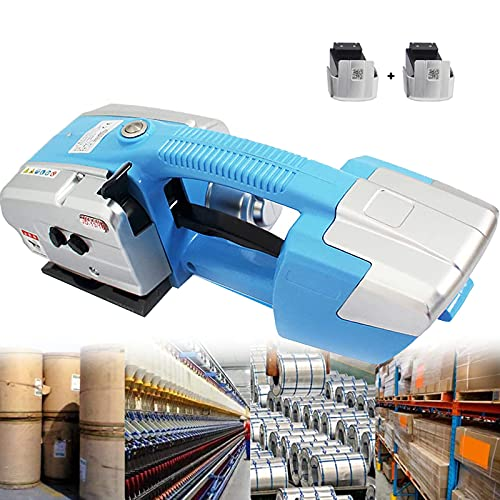 LIMEID Electric Strapping Tool for 1/2 in-5/8 in PP PET Straps Automatic Strapping Machine 2x3000mha Battery Powered for Box Pallet Portable Electric Baler,Blue
