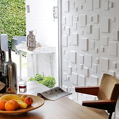 Revestimiento De Paredes 3D Squares 3m² | 12 Paneles Decorativos 3d de 50x50cm | Paneles Decorativos Para Pared WallArt, Papel Pintado 3d | Friso Para Pared, Paneles Acusticos, Panel De Pared 3d