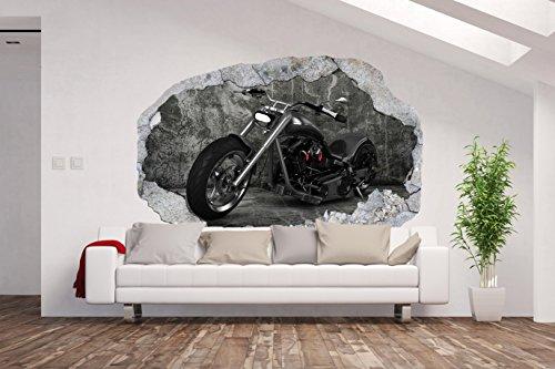 AM Wohnideen Vlies Fototapete/Poster XXL /3D Wandillusion/Loch in der Wand *Motorrad*