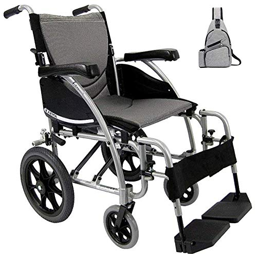 Karman S-115 Ergonomic Transport Wheelchair S-115WB18SS-TP, Swing in & Away Footrests & Assures Better Side Leg Support 18' W X 17' D Seat Frame Color Silver & Free Medical Utility Grey Bag!
