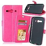 JEEXIA Funda para Alcatel OneTouch Pop C9, Moda Business Flip Wallet Case Cover PU Cuero con Soporte Cubierta Protectora - Rosa roja