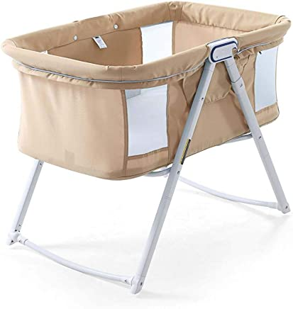 ZJFSL Travel Cot  Portable Baby Crib Compact Travel Cot 0-6 Months  Foldable Collapsible Infant Bed for Baby Kids