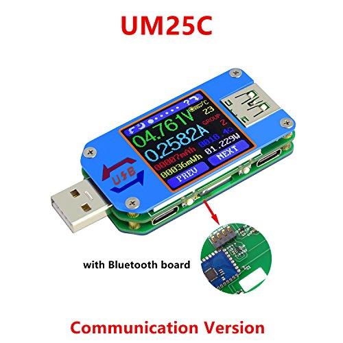 ARCELI APP USB 2.0 Typ C LCD Voltmeter Amperemeter Spannung Strommesser Batterieladekabel Widerstand USB-Tester (einschließlich Bluetooth-Kommunikation)