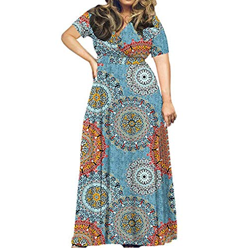 iYmitz Damen Übergröße Maxikleid Elegant V-Ausschnitt Kurzarm Kleider mit Blumen Pailletten Abend Party Netzkleid(X11-Blau,EU-54/CN-5XL)