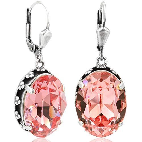 Jugendstil Ohrringe Silber Rosa mit Kristallen von Swarovski® Rose Peach NOBEL SCHMUCK