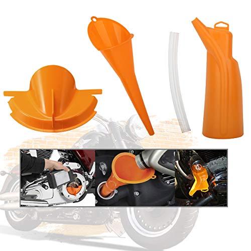 ATiC オートバイ オイルファンネル オイル漏斗 ドリップフリー ハーレー用 バイクオイルファンネル オイル交換 便利グッズ Harley Dyna 06-17/Softail 07-later適用 オレンジ