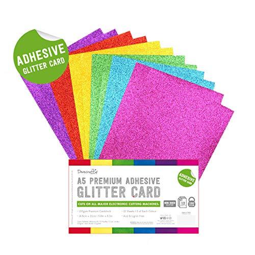 Dovecraft Essentials - Papier & Karton - A5 Zelfklevende Glitterplaten - Regenboog Helder