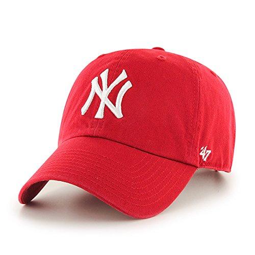 '47 MLB New York Yankees Brand Red Basic Logo Clean Up Cap Adjustable Hat