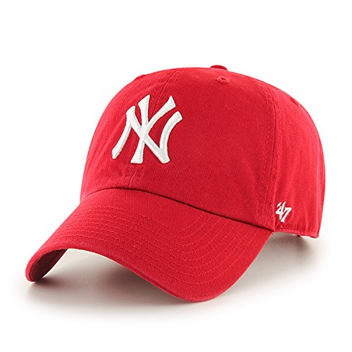 '47 MLB New York Yankees Brand Red Basic Logo Clean Up Cap Adjustable Hat