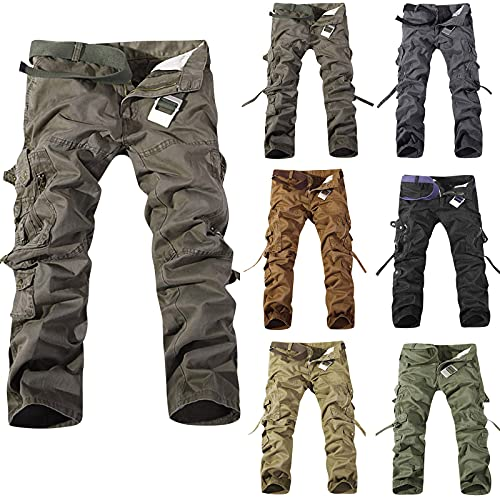 Pantaloni cargo estivi, da uomo, tinta unita, con tasche, casual, vita media, in cotone, da uomo, comodi, con bottoni, pantaloni cargo con tasche, hip-Hop, verde, XXXXXL
