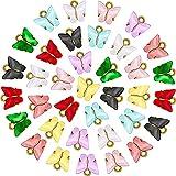 36 Piezas Dijes de Mariposas Colgante Mariposa Acrílico Plata Encantos Coloridos en Forma de Mariposa para Pendientes Pulseras Collares Fabricación Joyería DIY (Oro)