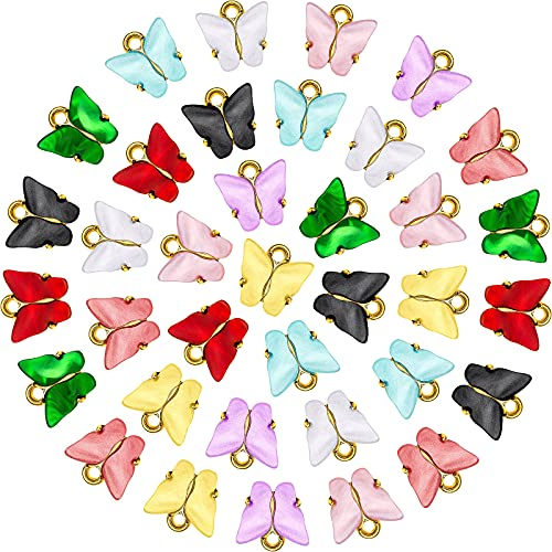 36 Piezas Dijes de Mariposas Colgante Mariposa Acrílico Plata Encantos Coloridos en Forma de...