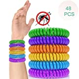LXTIN 48 Pcs Adulte Enfant Bracelets Anti-Moustiques, Tropical Naturel Plante Non Toxiques Réglable EVA Ceinture Anti-Moustique,Protection Totale Contre Les Insectes