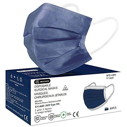 MEDI SANTÉ Boite de 50 Masques Bleu Marine Type IIR EN14683 - Sachet de 50 masques par boite