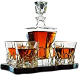 Crystal Wine and Whiskey Iceberg Mountain Glacier Decanter with 4 Glasses and Wood Tray - The Wine Savant