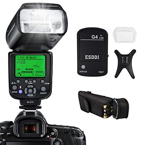 ESDDI I-TTL Flash Speedlite para Nikon, Kit Profesional de Flash con Disparador de Flash Inalámbrico, 1/8000 HSS Flash Inalámbrico Speedlite GN58 2.4G Radio Inalámbrico Master Slave para Nikon DSLR