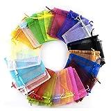 【京珠堂】オーガンジー巾着袋 アクセサリーや小物入れに (アソート, 15×9cm 100枚アソートセット)