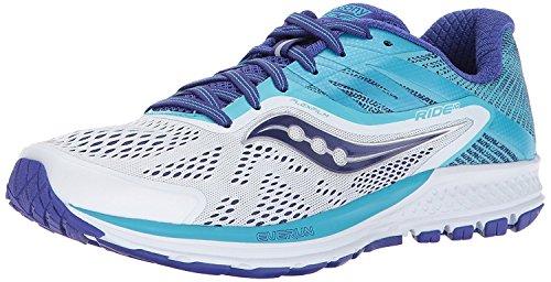 Saucony Women's Ride 10 Running Shoe, White Blue, 6 Medium US