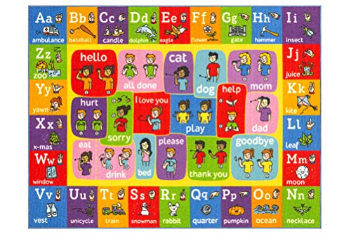 Playtime Collection ABC Alphabet ASL Sign Language Educational Learning Area Rug Carpet for Kids and Children Bedrooms and Playroom - 5' 0' x 6' 6'
