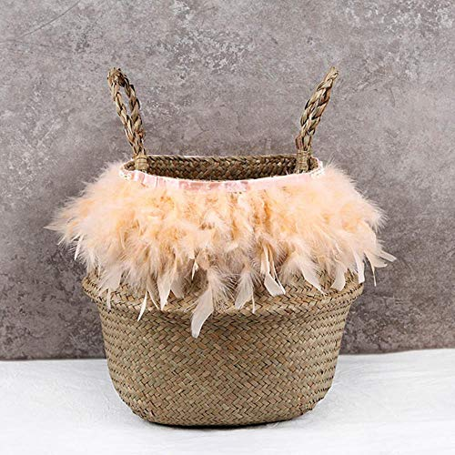 SASDA Seagrass Basket 100% Handmade Plant Fiber Fabric Baskets Woven Basket Basket Storage Use for Storage or For Potted Plants Baskets,1,32cmX28cm