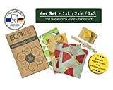 ECOlist Organic Bienenwachstücher für Lebensmittel - deutsche LFGB Zertifizierung, 4-er Set Wachstuch in angesagten Mustern (S, 2 x M, L) + Reparaturwachs + Band, wiederverwendbar, Beeswax wrap