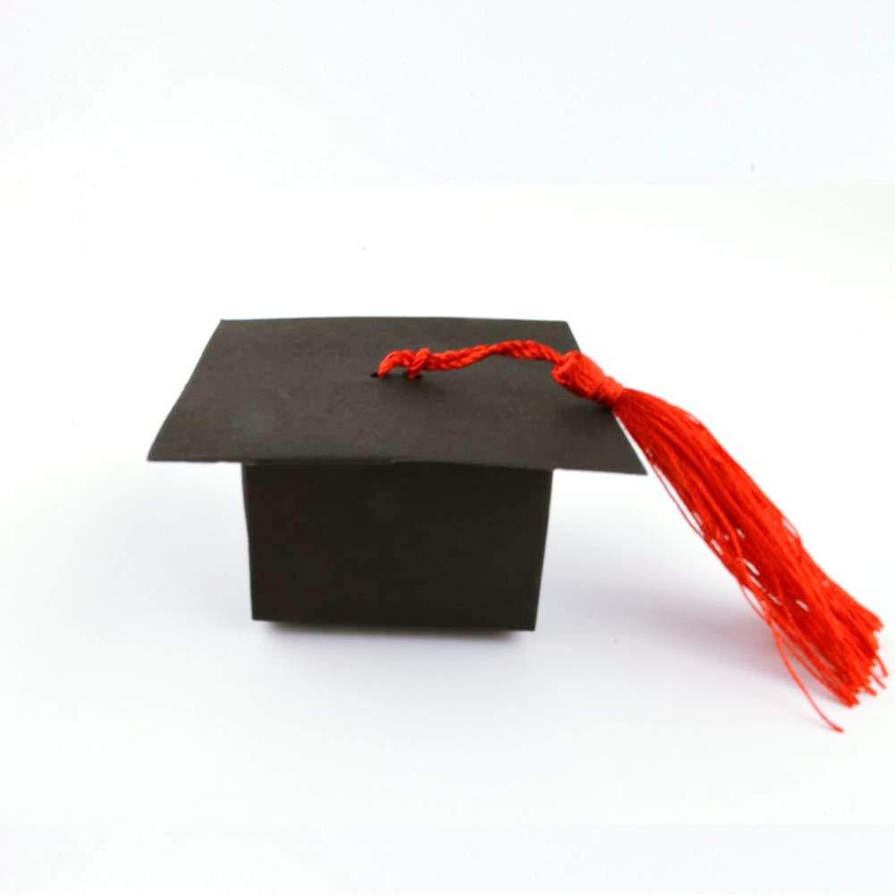 DishyKooker - Cajas para Dulces, 50 Unidades, Color Negro con Forma de Sombrero para graduados: Amazon.es: Hogar