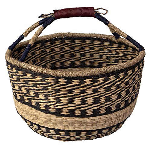 Wicker Bolga Basket Woven Picnic Basket Empty Straw Market Baskets with Handles | Circle Willow Easter Basket Tote Storage Basket for Fruits, Gifts, Toys, Crafts (Black Natural)