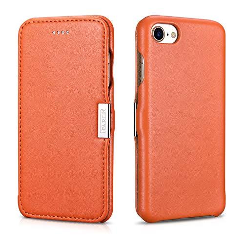 ICARER Tasche passend für Apple iPhone SE 2020, iPhone 8 & iPhone 7 (4.7 Zoll), Hülle mit Echt-Leder Außenseite, Schutz-Hülle seitlich aufklappbar, Ultra-Slim Cover, Etui, Orange