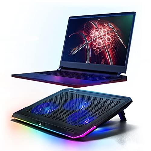 Almohadilla de enfriamiento para juegos RGB Almohadilla de enfriamiento silenciosa para computadora portátil y portátil con un ventilador grande, botón táctil y enfriador de computadora portátil LED