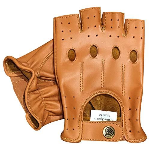 Prime, fingerlose Handschuhe aus echtem Leder, für Motorrad, Radfahren, Halbfinger, 309 XL hautfarben