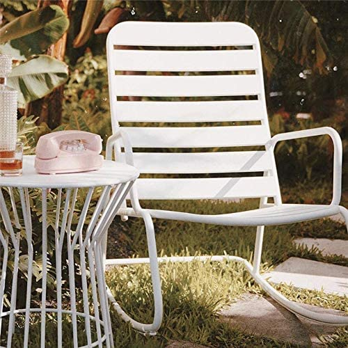 Best Novogratz 88065WHT1E Poolside Roberta Outdoor Rocking Chair, White