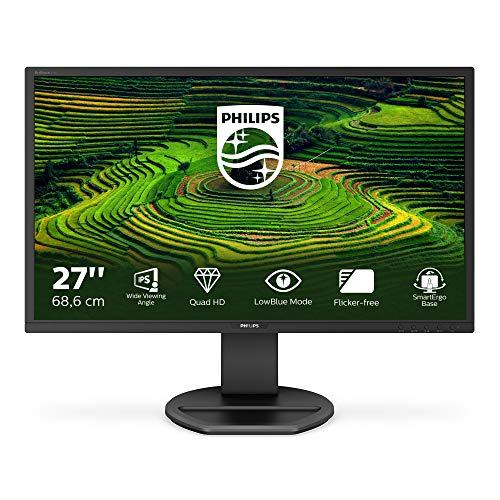 Philips 272B8QJEB - 27 Zoll QHD Monitor, höhenverstellbar (2560x1440, 60 Hz, VGA, DVI, HDMI, Display Port, USB Hub) schwarz
