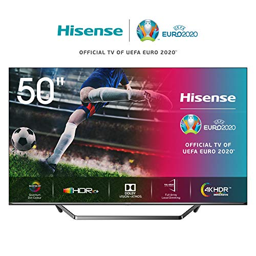 Hisense 50U7QF 126cm (50 Zoll) Fernseher (ULED, UHD, Quantum Dot, HDR 10+, DolbyVision, DolbyAtmos, Smart-TV, Local Dimming, WCG, USB-Recording, Ultra Slim Design, Mittelstandfuß) [Modelljahr 2020]