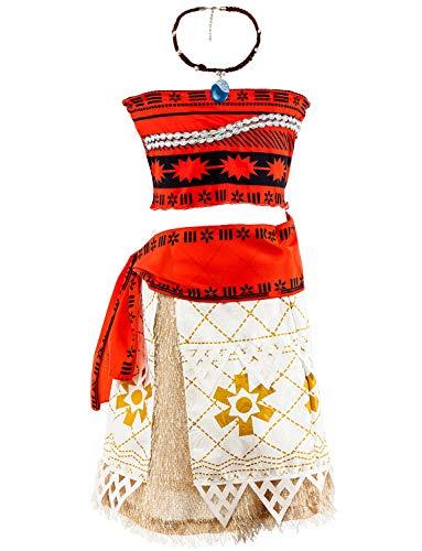 YOSICIL Disfraz Vaiana Moana Vestido Princesa Niñas Incluye La Señorita Vaiana Collar Falda Hawaii Moana Costume Infantil Traje Cosplay Actuación Carnaval Navidad Regalo Cumpleaños 2-8años