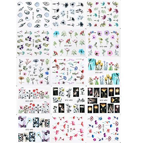 Maniküre Aufkleber, Rocita 24 Blatt Kreative Nagel Aufkleber Nail Art Sticker für DIY Nagel Kunst Tuschemalerei Stil
