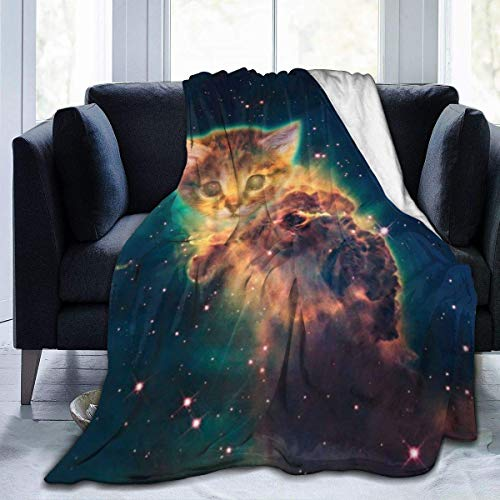 Yuanmeiju Micro Fleece Manta Throw Manta Star Cat Print Ultra-Soft Light Weight Cozy Warm Fluffy Plush Manta Microfiber for Bed Couch Chair Living Room Fall Winter Spring 60x50 Inch
