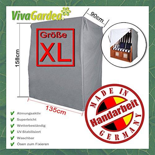 VIVAGARDEA® Premium STRANDKORB GANZJAHRESHAUBE - XL (135 cm) – GRAU