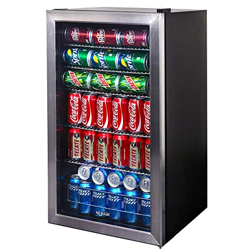 top 10 garage refrigerator NewAir 126 Freestanding Beverage Cooler, Can, Stainless Steel – Limited Edition Design