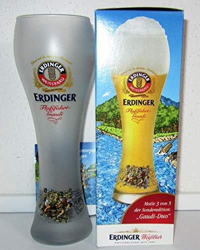 Erdinger / Bierglas/Weißbierglas/weiß satiniert/Floßfahrt-Gaudi/Gaudi-Duo