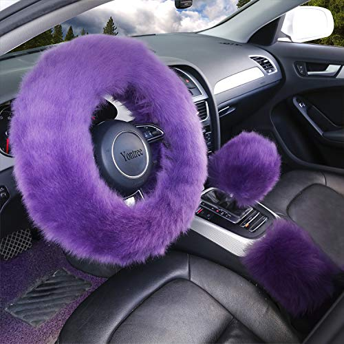 Didida Winter Warm Faux Wool and Bling Diamond Fluffy Fashion Steering Wheel Covers for Women//Girls//Ladies 15 Inch,Grey
