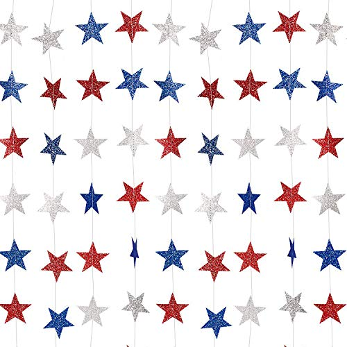 Whaline Patriotic Star Streamers Paper Garland Bunting Banner Hanging Decoration for 4th of July...