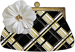 s.e.hagarman Black and Gold Posh Plaid Purse