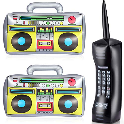3 Piece Inflatable Boom Box and Phone Blow Up Mobile Phone PVC Inflatable Toys Fake Inflatable Boom Box and Phone 80s Party Accessories for Men Women