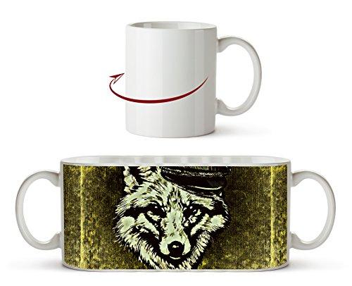 Fuchses mit einer Militärmütze Effekt: Zeichnung als Motivetasse 300ml, aus Keramik weiß, wunderbar als Geschenkidee oder ihre neue Lieblingstasse.