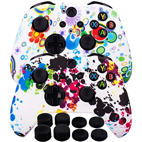 MXRC Silicone Rubber Cover Skin Case Anti-Slip Water Transfer Customize Camouflage for Xbox One/S/X Controller x 2(Graffiti Pack) + FPS PRO Extra Height Thumb Grips x 8