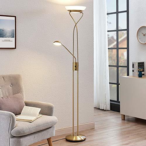 Lindby LED Stehlampe 'Luciana' dimmbar in Gold/Messing aus Metall u.a. für Wohnzimmer & Esszimmer (A+, inkl. Leuchtmittel) - Wohnzimmerlampe, Stehleuchte, Floor Lamp, Deckenfluter, Standleuchte